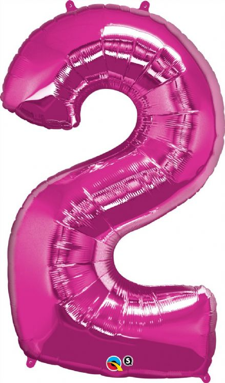 Number 2 Pink Super Shape Number Foil Balloon